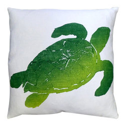 Tortuga Lime Pillow - This Tortuga Lime Pillow on white linen is the perfect touch of whimsy to your beach home living room or bedroom.  Especially suited to Hawaiian decorating since turtles are so valuable to their culture, you will find these beautiful ocean creatures can brighten up the mood of any room.