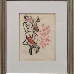 William Gropper, A Man and His Wine, Crayon Drawing - Artist:  William Gropper, American (1897 - 1977)