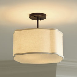 Regan Semi-Flush Mount - I love this semi-flush mount drum shade chandelier. It is perfect for a small bathroom, master closet or guest bedroom.