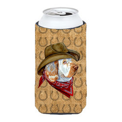 Caroline's Treasures - Clumber Spaniel Dog Country Lucky Horseshoe Tall Boy Koozie Hugger - Clumber Spaniel Dog Country Lucky Horseshoe Tall Boy Koozie Hugger Fits 22 oz. to 24 oz. cans or pint bottles. Great collapsible koozie for Energy Drinks or large Iced Tea beverages. Great to keep track of your beverage and add a bit of flair to a gathering. Match with one of the insulated coolers or coasters for a nice gift pack. Wash the hugger in your dishwasher or clothes washer. Design will not come off.