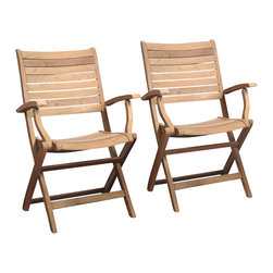 International Home Miami - Amazonia Teak Dublin 2-Piece Teak Folding Armchairs - Great Quality, elegant design patio set, made of 100% high quality teak wood. Enjoy your patio with style with these great sets from our Amazonia Teak outdoor collection