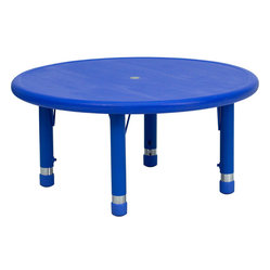 Round Height Adjustable Blue Plastic Activity Table