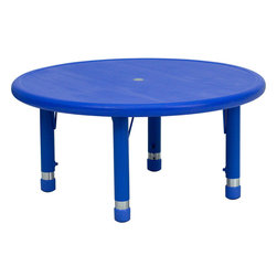 Flash Furniture - 33'' Round Height Adjustable Blue Plastic Activity Table - Kids long for their own space to color, cut and dream. This colorful, adjustable table can grow with your child, ensuring they will always have space for creativity.