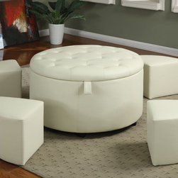 Coaster - Round Ottoman - Cream - Make entertaining easy and stylish with this 5-piece ottoman set. Within the large round storage ottoman are four smaller ottoman seats. Keep them neatly tucked away when they're not needed. Covered in a cream leather-like vinyl with a button-tufted top.