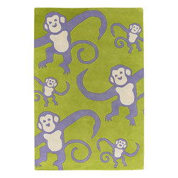 """Chandra - Kids Kids 7'9""""x10'6"""" Rectangle Green-Purple Area Rug - The Kids area rug Collection offers an affordable assortment of Kids stylings. Kids features a blend of natural Green-Purple color. Hand Tufted of New Zealand Wool the Kids Collection is an intriguing compliment to any decor."""
