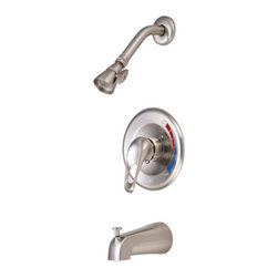 Kingston Brass - Single Handle Tub & Shower Faucet - Solid brass water way construction, Premium color finish resists tarnishing and corrosion, 2.5 GPM / 9.5 LPM at 60 PSI, 6in. reach Shower Arm, 1/4 turn washerless cartridge, 1/2in. IPS Inlets, Pressure Balance Valve, Temperature Check Stop, Ten year limited warranty.
