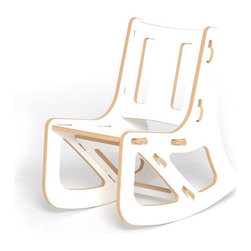 """Sprout - Kid's Rocking Chair - Sprout Kids Rocking Chair snaps together in seconds all with no tools. The perfect addition to the nursery, toy room, or preschool these contemporary rockers encourage exploration and creativity in your kids. The seat, back, and brace can be swapped with other chairs, rockers, or cubbies to change the style, color, or even the function of your kids rocker. Features: -Easy to store. -Made from recycled pre-consumer material. -Material: MDF. -Durable melamine facing. -Interchangeable Seat, Back and Brace. -Chair, Rocker, and Cubby components are interchangeable. -Online instruction video. -Made in the USA. Specifications: -Overall dimensions: 21"""" H x 12"""" W x 20"""" D. -Weight limit: 150 lbs. -Seat height: 9.5""""."""