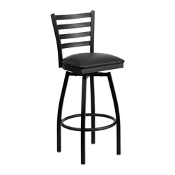 Flash Furniture - Flash Furniture Restaurant Seating Metal Restaurant Barstools - This stylish swivel bar stool will compliment any Home, Restaurant, Lounge or Bar. The 360 degree swivel seat allows you to swing around effortlessly. The comfortably padded seat will keep you and your guests comfortable and is easy to clean. The heavy duty frame makes this stool perfect for commercial or home usage. This attractive stool will add to your casual or elegant setting. [XU-6F8B-LADSWVL-BLKV-GG]