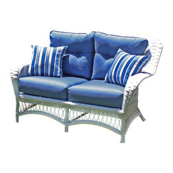 Wicker Paradise - Princeton Wicker Loveseat - White - Lazy summer afternoons are a lot more relaxing when you have a loveseat like this one. The classic lines and white color give this loveseat a contemporary charm that works in a historic home or a modern-day cottage.  It is made of resin wicker and built on an aluminum frame for total outdoor use. The Princeton loveseat comes with bottom and back cushions in Sunbrella Sapphire Blue fabric. Throw pillows are not included.