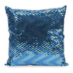 iMax - iMax Estradin Blue Sequin Chevron Pillow X-34998 - Strikingly bold, this blue sequin chevron pillow adds shimmering brilliant color and pattern to any space.