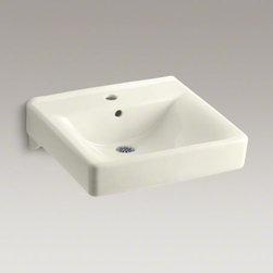 """KOHLER - KOHLER Soho(R) 20"""" x 18"""" wall-mount/concealed arm carrier bathroom sink with sin - When your lavatory needs to handle high-volume traffic, premium KOHLER materials are more important than ever. Crafted of vitreous china, your Soho wall-mount lavatory will provide a lifetime of beauty thanks to our exclusive KOHLER glaze. This remarkably hard, glossy finish protects the surface for a clean, sanitary sink that maintains its polished shine throughout years of busy use."""