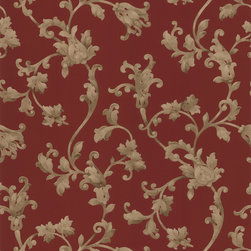 Brewster - Red Scrolls Wallpaper - Rich,decorative gold swirls complement the warm red backdrop of this luxurious scroll wallpaper. This stylish vinyl-made wallpaper is a splendid accent to your home decor.