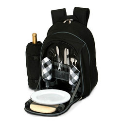 "Picnic Plus - Endeavor 2 Person Picnic Backpack, Black - Picnic Plus Endeavor 2 Person Picnic Backpack, Black. Color/Design: Black; Large insulated food compartment; Insulated, zippered, detachable 2 liter wine/beverage carrier; Heavy duty 600D polyester exterior shell; Two soft padded shoulder straps; With a complete set of 2: plates, acrylic goblets, cotton napkins, stainless steel flatware, bottle opener waiters tool, salt/pepper shakers, wooden cutting board and cheese knife. Dimensions: 20""W x 9""D x 17""H"
