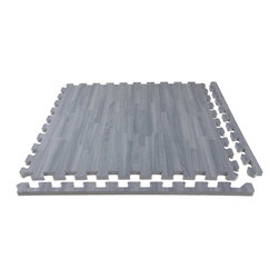 """FlooringInc - FlooringInc Soft Wood Foam Tiles (12 Tiles, 48 Sqft), Grey - Description - We at Flooringinc are proud to introduce our new 5/8"""" Soft Wood Tiles. Our new foam backed tiles offer the same modern and attractive appearance, but offer much more durability being more scratch-resistant and can withstand more abuse. These high quality tiles are still easy to install, low cost, light weight, and waterproof which means they can be installed in a variety of situations. These foam flooring tiles also help to reduce sound transmission and help to keep users insulated from cold subfloors below. Each tile comes with two removable edge pieces attached which allows you to turn any tile into a corner, border, or center tile; and just like our standard soft wood tiles, our new soft wood tiles are 100% allergen free and latex free."""