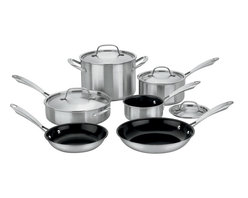 Cuisinart - Cuisinart Green Gourmet Tri-ply Stainless Steel 10-Piece Cookware Set - Exclusive Ceramica�� non-stick technology