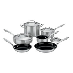 Cuisinart - Cuisinart Green Gourmet Tri-ply Stainless Steel 10-Piece Cookware Set - Exclusive Ceramica® non-stick technology