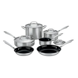 Cuisinart - Cuisinart Green Gourmet Tri-ply Stainless Steel 10-Piece Cookware Set - Exclusive Ceramica™ non-stick technology