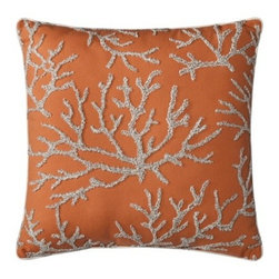 Threshold Embroidered Coral Toss Pillow - I love the coral embroidery on this throw pillow. It's a great summer touch for a master bedroom.