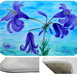 """usa - Lillies Bath Mat,  30"""" X 20"""" - Bath mats from my original art and designs. Super soft plush fabric with a non skid backing. Eco friendly water base dyes that will not fade or alter the texture of the fabric. Washable 100 % polyester and mold resistant. Great for the bath room or anywhere in the home. At 1/2 inch thick our mats are softer and more plush than the typical comfort mats. Your toes will love you."""