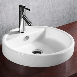 Caracalla - Circular White Ceramic Self Rimming bathroom Sink - Modern style, circular white ceramic self rimming bathroom sink with one hole. Stylish self-rimming washbasin comes with overflow. Made in Italy by Caracalla. Made out of white ceramic. Modern design. With overflow. Standard drain size of 1.25 inches.