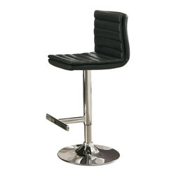 Monarch Specialties - Monarch Specialties Barstool with Hydraulic Lift (Set of 2) - Choose this contemporary two piece bar stool set for a stylish look perfect for get-togethers and sleek dining. The chrome finished metal pedestal base features a hydraulic lift to adjust the seat height and a footrest for added comfort. The black seat with a padded straight line design makes this barstool comfortable and visually appealing. What's included: Barstool (2).