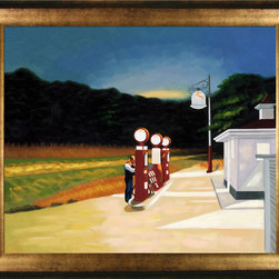 overstockArt.com - Hopper - Gas, 1940 - Gas is a remarkable oil painting with exceptional use of color, detail and brush strokes. First created in 1940 this painting depicts the exterior of an gas station with working attendant. A look at the days of full service. Hopper received many honors in his lifetime for his exceptional use of color, detail, and subject matter. His classic works capture the authenticity of urban and rural American life with emotions and beauty that have placed them among the lasting and popular images of the American 20th century landscape. Make this painting a part of your home collection.