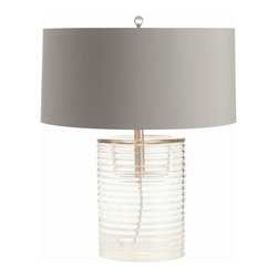 Arteriors - Rhett Lamp - If you're bored with black and white, upgrade to gray and crystal clear. This lovely lamp, with its ribbed cylindrical base and wide shade in the chicest hue, is topped by a marble-shaped finial.