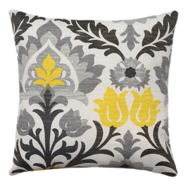 Land of Pillows - Waverly Sun N Shade Santa Maria Licorice Damask Style Floral Outdoor Pillow, 16x - Fabric Designer - Waverly