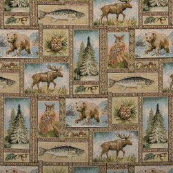 Bears Moose Trees Acorns and Fish Themed Tapestry Upholstery Fabric By The Yard - P2310 is an upholstery grade tapestry novelty fabric. This fabric is excellent for cabins, lodges, homes and commercial uses.