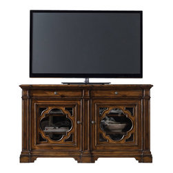 "Hooker Furniture - 62"" Entertainment Console - White glove, in-home delivery included!  This noble entertainment console features two drawers, two wood framed glass doors and one three plug outlet."