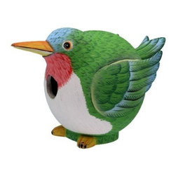 Songbird Essentials - Hummingbird Gord-O Birdhouse - Songbird Essentials adds color and whimsy to any garden with our beautifully detailed wooden birdhouses that come ready to hang under the canopy of your trees. Hand-carved from albesia wood, a renewable resource, each birdhouse is hand painted with non-toxic paints and coated with polyurethane to protect them from the elements. By using all natural and nontoxic components Songbird Essentials has created a safe environment complete with clean-out for our feathered friends.