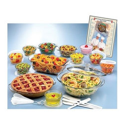 Anchor Hocking - Anchor Hocking - 33 Pc Glass Ovenware Set - Oven and microwave-safe. Dishwasher-safe. 2-quart casserole dish with cover. 1.5-quart loaf dish. Two 12-ounce utility bowls. Eight custard cups with covers. 9-inch diameter pie plate. Bake with Bob & Joyce famous recipe collection. Poster-size microwave cooking chart. Four separately-sized spatulas