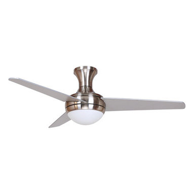 Yosemite Home Decor - 48 Inch Ceiling Fan in Bright Brush Nickel Finish - The  Adalyn ceiling fans collection features a stunning 48 ceiling fan in bright brushed nickel. This ceiling fan is a flush mount with a clean modern look. The 3 blades with 12 degree blade pitch allows air to move efficiently with quiet operation. The  Adalyn-BBN is designed for interior use and comes with a remote for convenient operation. It is a single light kit with frosted alabaster glass. It requires 2 incandescent 60 watt bulbs candelabra. There is also a dimmable feature.