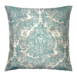 "Z Gallerie - Villagio Pillow 26"" - Define your piece of furniture as elegant by simply adding our stunning Villagio Pillow to create a luxurious look. The traditional motif in subdued aquamarine is softened at the edges to lend an antiqued appearance and is printed on pure lustrous silk, the fabric of unparalleled quality. The pillow measures a generous 26 inches square and is filled with a sumptuous feather blend insert."