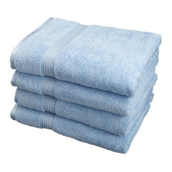 Superior Egyptian Cotton 4pc Light Blue Bath Towel Set - These towels are made with 100% Egyptian Cotton! Towels are also super absorbent and feel great against your skin.  Revitalize your bath d cor or treat someone with this towel set as a gift!  Towel Set includes: Four Bath Towels-30x54 each.
