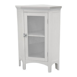 Elegant Home Fashions - Madison Avenue Corner Floor Cabinet Multicolor - 7077 - Shop for Cabinets from Hayneedle.com! Tuck the Elite Home Fashions Madison Avenue Corner Floor Cabinet into a corner of even a small bathroom to dramatically increase your storage of extra toiletries and linens. Made of easy-to-clean MDF laminate in a refreshing white finish this small cabinet has a space-saving design and basic style to complement any bathroom decor. The clear glass-paned door opens with a twist-operated silver latch for quick access to the vast cabinet with an adjustable shelf. With arch-style legs at the base and angular crown molding at the top this sleek and bright cabinet is also the perfect height for a plant or aromatherapy candle.