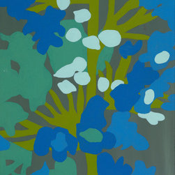 """Emma at Home - Blue Green 2 Canvas, 11"""" x 14"""" - This view of a blooming plant takes on almost an abstract shape when rendered so close. It makes the piece a little more open to interpretation, and the color palette inspires too."""