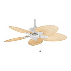 Fanimation - Windpointe Five Blade Ceiling Fan with Palm Leaf Blades - Tropical style fan in antique brass or matte white finish wiht palm leaf blades.