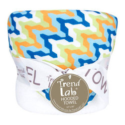 "Trend Lab - Bouquet Hooded Towel - Levi - Trend Lab's Levi Hooded Towel will keep your baby warm and dry after bath time. The white terry towel features a cotton twill chevron print throughout the hood and trim in nautical blue, tiger orange, blue raspberry, chartreuse green and white. Hooded towel measures 32"" x 30"". Coordinates with the Levi collection by Trend Lab."