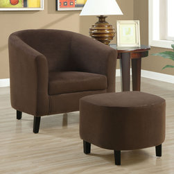 Monarch - Chocolate Brown Padded Micro-Fiber Chair And Ottoman - Whether standing alone or used to accent a full living room ensemble, this chair will bring optimal comfort and exceptional style to your home. Designed with a round back that connects with its gently flared track arms for a unique barrel shape, this accent chair has a sleek yet gentle contemporary style that will stand out in any room. Raised on slender wood legs and draped in a chocolate brown padded micro-fiber upholstery, this chair's chic modern vibe is only further emphasized. Gentle to the eye and to the touch, this chair is stuffed with a plush boxed seat cushion and is accompanied with a matching ottoman for soft support you will be just dying to sink into