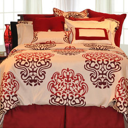 None - Cherry Blossom 9-piece Twin-size Bed in a Bag with Sheet Set - This nine-piece twin-size bed-in-a-bag set will make a bold design statement. Sporting both solids and patterned pieces in vibrant shades of burgundy and red on a white background,this set will give any bedroom a cohesive designer look.