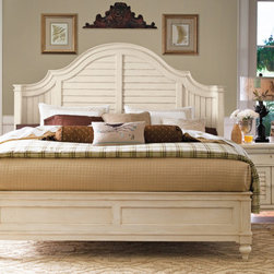 """Universal Furniture - Paula Deen Steel Magnolia Bed in Linen - Universal Furniture's Paula Deen Steel Magnolia Bed was inspired by Paula's very own back porch shutters. The simplicity of the paneled head and footboard delivers a coastal twist to this traditional design. Hardwood solids, pin-knotty cherry veneers and silky linen finish provide the panel bed with a timeless element. The curved ends of the headboard and raised bead-molding give this cozy platform bed a truly majestic feel. Perfect for nights of dream-filled sleep...""""Sweet dreams y'all!"""""""