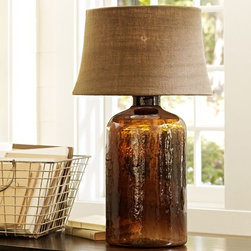 Clift Glass Cylinder Table Lamp Base, Espresso - This is such a fantastic and beautiful lamp. The amber-colored glass base was modeled after a Sonoma wine jug. I absolutely adore it.