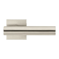 """Minimal Line Door Lever Set Berlin, Satin Stainless Steel 0.06"""" - This modern and stylish lever set will enhance your interior door and makes it a true conversational piece. It is from solid cast iron and available in different finishes. The set includes the handles on both sides, both rosettes and the mortise lock for passage or privacy. This lever set is made for custom doors that are not pre-hung or prepped for standard handles."""