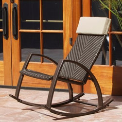 RST Outdoor Barcelona Woven Wicker Outdoor Rocker - Bring the cool modern comfort of the RST Outdoor Barcelona Woven Wicker Outdoor Rocker to your home and you'll spend your entire summer soaking up the sun in this relaxing patio rocker. Crafted from 100-percent recycled rattan wicker, this eco-friendly patio rocker blends clean, modern style with the best in classic comfort. Deep, wide seating and an ergonomic design make this seat comfortable for even the tallest adults. The poly-spun fabric pillow attaches over the headrest for a comfortable place to rest your eyes.To endure the elements, this handsome patio rocking chair is constructed with powder-coated aluminum that won't scratch or rust, bringing you the strength of steel without the unnecessary weight. Perhaps best of all, the PE wicker remains cool-to-touch, so you can enjoy safe and comfortable use year-round.About Red Star TradersSince 2004, Red Star Traders LLC (made up of RST Outdoor, RST Living and FlowWall System) has designed and manufactured products in the outdoor living, home decor and wall-based organizational products categories. Red Star is a direct import, product marketing company. Red Star categories of focus include jewelry boxes, men's gifts & furnishings, and RTA furniture. Their team of marketing and design professionals can help identify market trends and deliver products that meet target retails with maximum perceived value. Red Star's network of manufacturing partners and overseas production managers insure integrity in production and strict quality control.