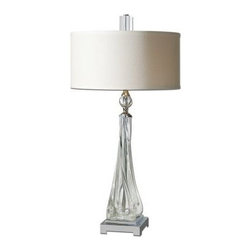 Uttermost - Uttermost 26294-1 Grancona Twisted Glass Table Lamp - Thick, twisted glass base with polished nickel details and crystal accents. The round, hardback drum shade is a white linen fabric.