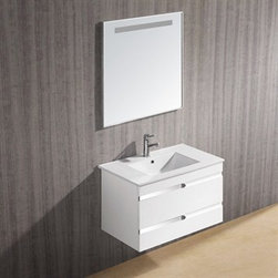 "Vigo Industries - Vigo 32-inch Ethereal-Petit Single Bathroom Vanity with Mirror - White Gloss - Features: Vigo Ethereal-Petit is a wall mounted white gloss contemporary style vanity This art nouveau inspired vanity features two stylish drawers with soft closing hardware Features artistic chrome pull accents This convenient sized vanity is a stunning addition to any bathroom Cabinet is made from a solid engineered wood with white gloss finish, which consists of an anti-scratch paint surface for enhanced durability and frequent use Vanity is fabricated for wall mount installation with all mounting hardware included Contains one white, top-mount ceramic sink with a single hole for a faucetCabinet is shipped assembled Solid brass, chrome-plated drain assembly included Includes mirror with horizontal light strip at top 5 Year Limited Warranty Cabinet measures (Including sink): H - 20 3/8"" W - 32 1/8"" D - 18 1/2"" Mirror measures: H - 29 3/4"" W - 29 3/4"" How to handle your counter View Spec Sheet"