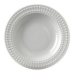 """L'Objet - L'Objet Perlee White Soup Bowl - Inspired by the timeless elegance and modernity of the pearl. Limoges Porcelain. Made in Portugal. Dishwasher & Microwave Safe. Diameter 9"""" 8oz.L'Objet is best known for using ancient design techniques to create timeless, yet decidedly modern serveware, dishes, home decor and gifts."""