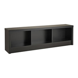 Prepac - Prepac Series 9 Designer - Black Storage Bench - The multi-purpose Series 9 Designer Bench will add storage and style to any room in your home. As part of the Series 9 Designer Collection, it fits easily at the foot of Prepac's queen & king sized beds. In an entryway, its sturdy construction invites you to sit down and take off your shoes. The three large compartments below the bench are a convenient place for shoes, blankets, throws, books and other items. The bench is constructed from durable laminated composite woods. Ships Ready to Assemble, includes an instruction booklet for easy assembly and has a 5-year manufacturer's limited parts warranty.