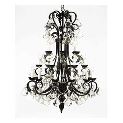 "The Gallery - Large Foyer / Entryway Wrought Iron Chandelier 50"" Inches Tall With Crystal! ... - Wrought Iron Chandelier. A Great European Tradition. Nothing is quite as elegant as the fine chandeliers that gave sparkle to brilliant evenings at palaces and manor houses across Europe. This beautiful chandelier from the Versailles Collection has 24 lights. The frame is Wrought Iron, adding the finishing touch to a wonderful fixture. The timeless elegance of this chandelier is sure to lend a special atmosphere anywhere its placed! Please note this item requires assembly. This item comes with 18 inches of chain. Size: H.50"" W.30"" 24 LIGHTS. Lightbulbs not included"
